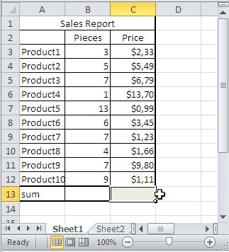 SUMPRODUCT sales report