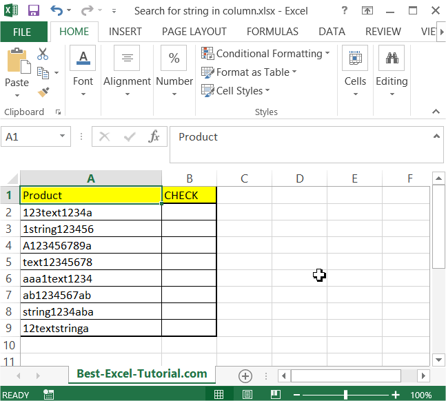 Search for string in column data table