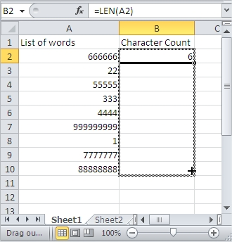 Sort Character Count Drag