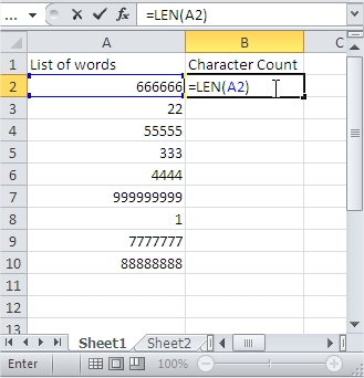 Sort Character Count Formula