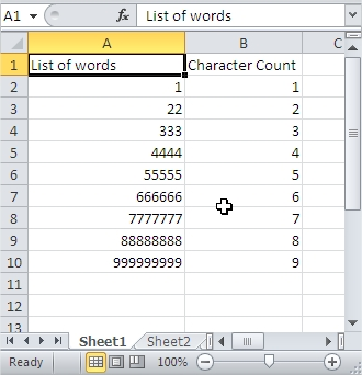 Sort Character Count