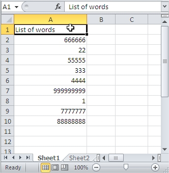 Sort Character Count Table