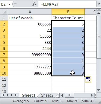 Sort Character Count Value