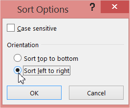 Sort Options sort left to right
