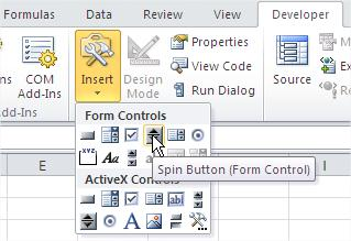 Excel Insert Spin Button