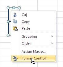 Excel Spin Button Format Control