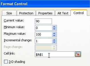 Excel Spin Button Properties