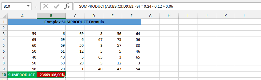 SUMPRODUCT and Percentage
