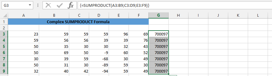 Sumproduct in Multiple Cells