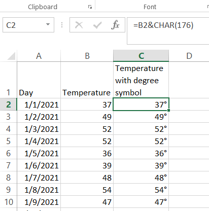 temperature with degree symbol