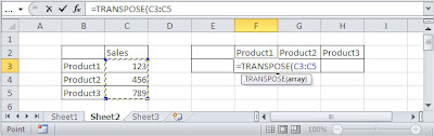 TRANSPOSE function array formula