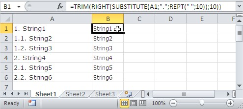 excel trim function not working