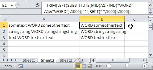 TRIM find text word string