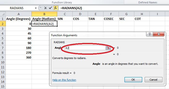 Trig Functions Radians Arguments