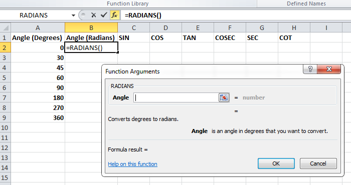 Trig Functions Radians