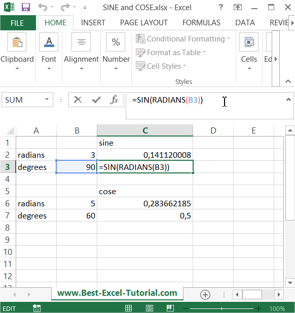 degrees in excel  Best Excel Tutorial - Calculating sine and cosine of an angle
