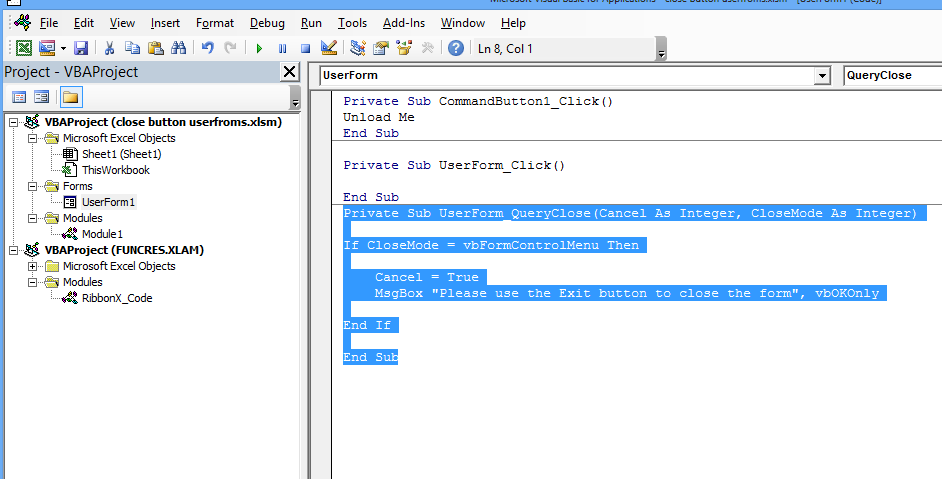 vba code useform close