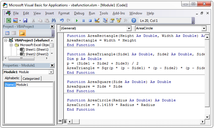 VBA own function code