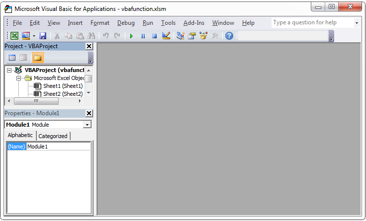 VBA own function editor
