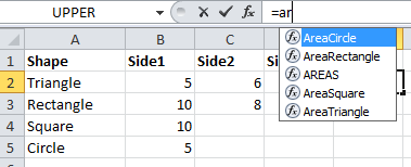 VBA own function formula bar