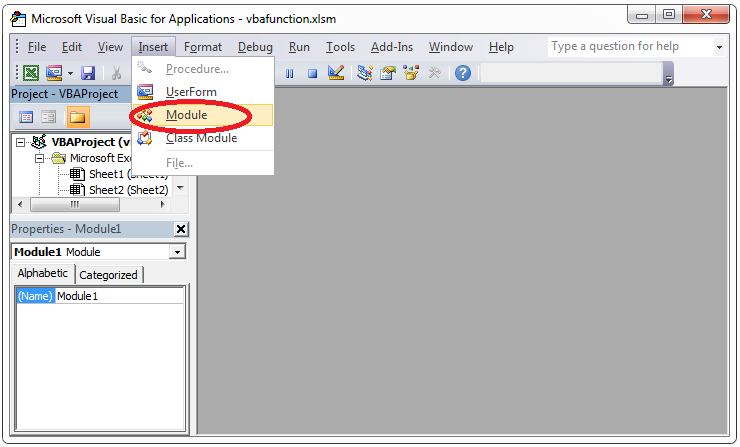 VBA own function module