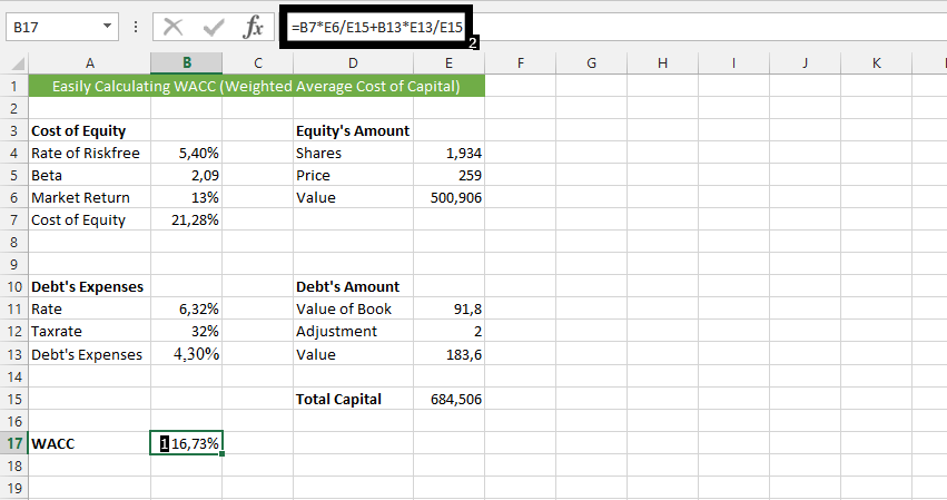 best excel tutorial how to calculate wacc