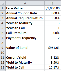 Yield Excel calculation