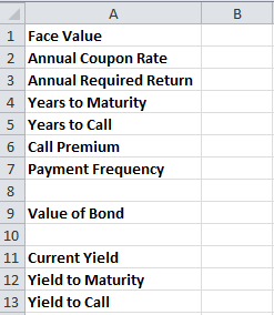 Yield table
