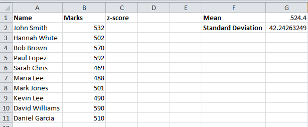 Z Score mean standard deviation