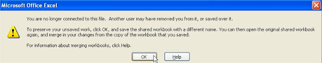 share workbook connection lost