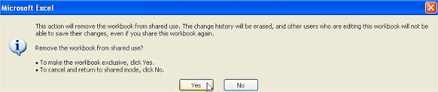 share workbook warning user unable to save changes