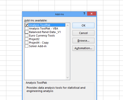 Analysis Toolpak Add in